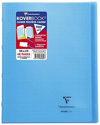 Clairefontaine 984602C Un Cahier Agrafé Koverbook Bleu - 24x32 cm - 48 Pages Petits Carreaux avec Marge - Papier Blanc 90 g - Couverture Polypro