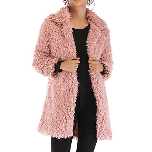 YJNH Women Jacket Coat Long Sleeve Faux Fur Fluffy Fleece Lapel New Winter Warm Outerwear Cardigan Solid Color Streetwear Loose and Comfortable S