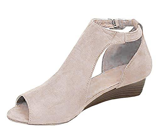 Minetom Sandalias De Mujer Verano Cuña Peep Toe Cabeza Pescado Zapatos De Tacón Alto Chancletas Zapatillas Sandals Romanas