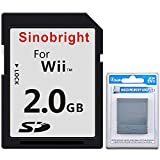 Sinobright SD Card 2GB Wii Standard SD 2G Memory Cards with Card Adapter Reader Converter for Nintendo Wii NGC Gamecube Console