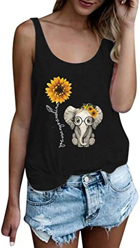 Womens Tank Tops Plus Size Women Sleeveless Tank Tops Sunflower Print Bandages Vest Top Strappy product image