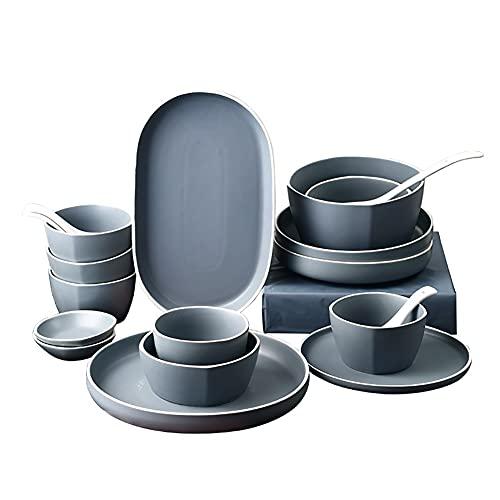 Karid De vajilla de Cocina, Platos y Cuencos Resistentes a Las roturas | Vajilla nórdica Simple de Porcelana de Hueso de Color sólido para reuniones Familiares y Regalos