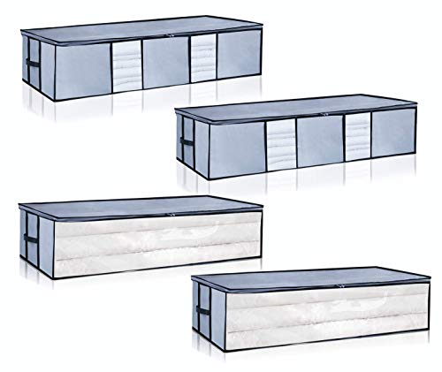 Underbed Storage Bags Long Under Bed Organizer Storage Container 4pack for Clothes, Comforters, Blanket, Foldable with Clear Window Grey