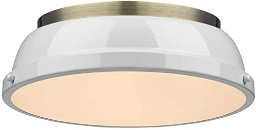 popular Golden Lighting 3602-14 AB-WH Duncan Flush online sale Mount, Aged Brass with White wholesale Shade online sale