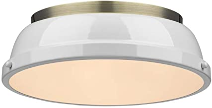 Golden Lighting 3602-14 AB-WH Duncan Flush Mount - Damp, Aged Brass