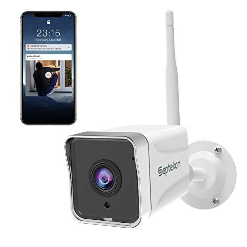 Septekon Überwachungskamera Aussen, Kamera Überwachung 1080P, WLAN IP Kamera IP66 wasserdichte Sicherheitskamera mit Nachtsicht Bewegungserkennung, Außen Kamera mit Zwei-Wege-Audio