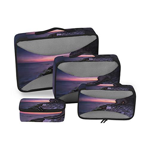 Embalaje de 4 Piezas Organizador de Viajes Cubos Set Coast Sunrises Sunsets Stones Storage Bag Durable Multifunción