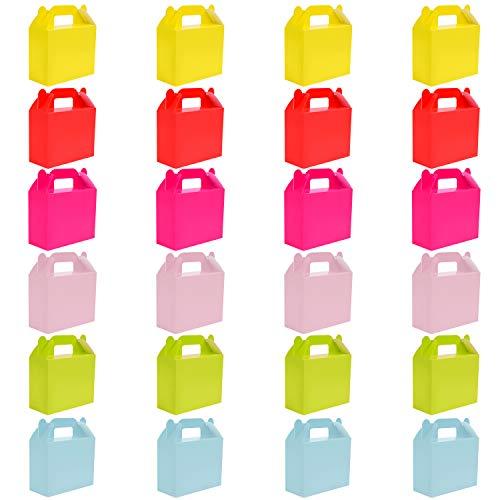BELLE VOUS Cajas para Dulces (Pack 24) - 11 x 14 x 6cm Seis Pequeño Cajas de Cumpleaños Colores Llanura - Cajas Galletas - Cajas Regalo Personalizadas para Baby Shower, Fiestas Niños, Manualidades