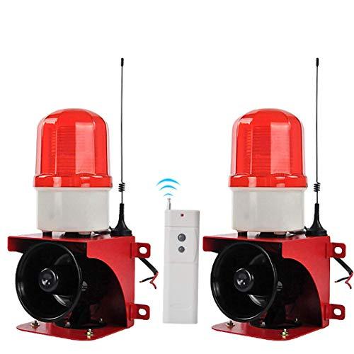 YJINGRUI Sirena Alarma Mando a Distacia 500m de Remoto Control Estroboscópica 110dB Alarma de Luz y Sonido a Prueba de Polvo y Lluvia Servicio de Personalización 220V (1*mando+2*sirena)