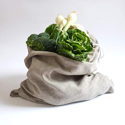 Varvara Home Leinen Brotbeutel - Leinensack für Brot - Leinenbeutel - Beutel für Gemüse & Obst - Zero-Waste - Aufbewahrungstasche - Natur (45 x 50 cm)