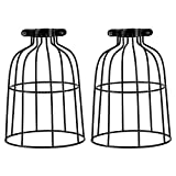 2 Pack Industrial Vintage Bulb Guard Cage Lamp Shade, Vintage Style Metal Lamp Guard Wire Cage, Hanging Pendant Metal Wire Cage, Open Style Industrial Grade Adjustable, Upgrade Black.