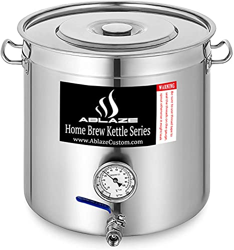 Ablaze Pre-Installed 5 Gallon 20 Quart Stainless Steel Home Brew Pot Brew Kettle Set for Beer Brewing Cooking and Boiling Includes Lid Ball Valve Thermometer