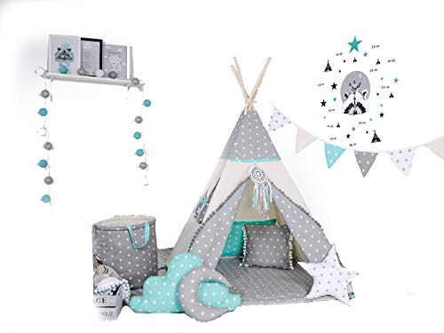 Golden Kids Kinder Spielzelt Teepee Tipi Set für Kinder drinnen draußen Spielzeug Zelt Indianer Indianertipi Tipi mit & ohne Zubehör (ohne Zubehör, Wolf Stern grau)