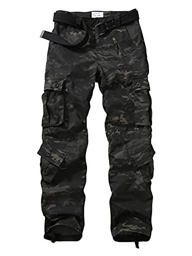 TRGPSG Pantaloni Cargo da Uomo Pantaloni Militari, Pantaloni Casual Pantaloni Sportivi in Cotone Multi Tasca mimetici Cargo da Combattimento per la casa 5335 Dark Camo IT 44/Tag UK 30