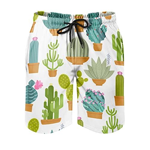 Facbalaign Herren Shorts Kaktus überall Badehose Pflanzen Herren Badehose mit Mesh-Futter und Taschen White L