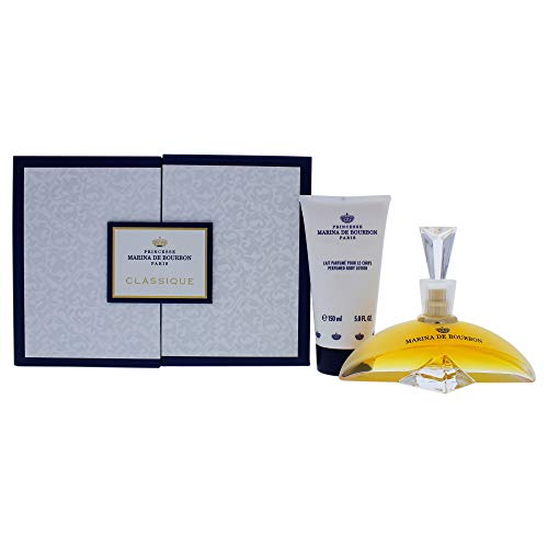 Classique by Princesse Marina de Bourbon | Fragrance for Women | Floral and Fruity Scent with Notes of Exotic Fruits and Vanilla | 3.4 oz Eau de Parfum Spray and 5 oz Body Lotion