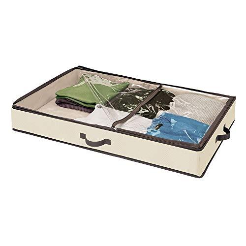mDesign Cajón para debajo de la cama – Caja organizadora con tapa transparente para ropa, sábanas, etc. – Organizador de ropa para un almacenaje bajo la cama libre de polvo – crema y marrón café