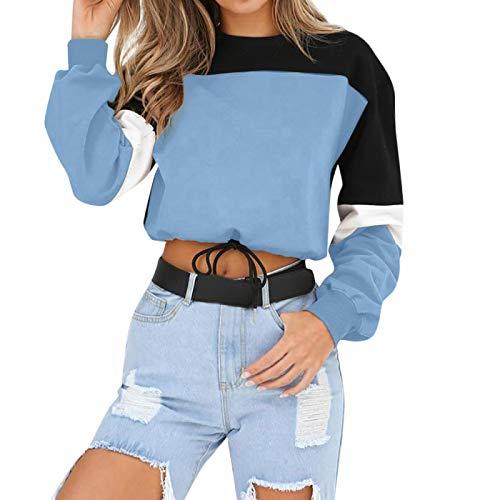 Jersey Suéter Sweater Sudaderas con Capucha De Mujer De Manga Larga Suelta Crop Top Sudadera Casual Patchwork O Cuello Cintura Elástica Jerseys Streetwear XL Azul