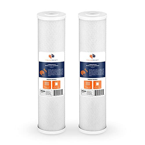 Aquaboon Coconut Shell Water Filter Cartridge | Activated Carbon Block CTO | Universal Whole House 5 Micron 20 inch Cartridge | Compatible with EPM-20, CB-20, 155783-43, FC25B 2-PACK