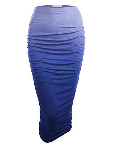 WB1148 Womens Ombre High Waist Pencil Skirt with Side Shirring XXXL Royal_Brite