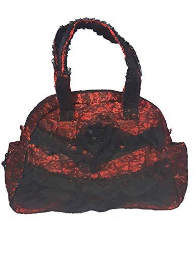 Bäres Gothic Handtasche Schultertasche aus Spitze Rüschen schwarz rot