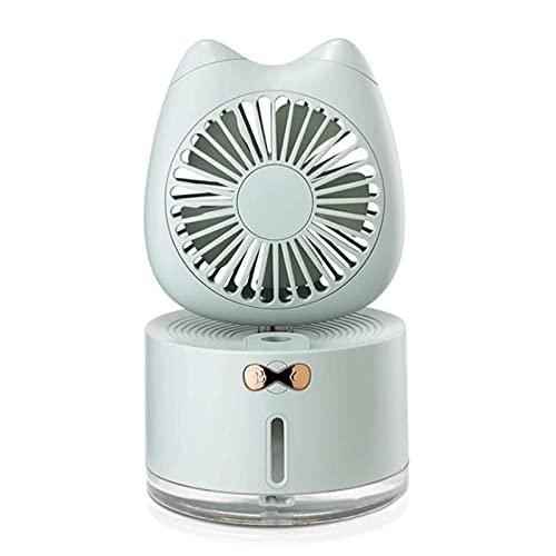 QQW Refrigerador de Aire Portátil de 300 Ml, Viaje Multifuncional Usb Humidificador Ventilador, Mini Acondicionador de Aire Personal 3 en 1, Ventilador de Mesa Recargable para Office/Home/Outdoor