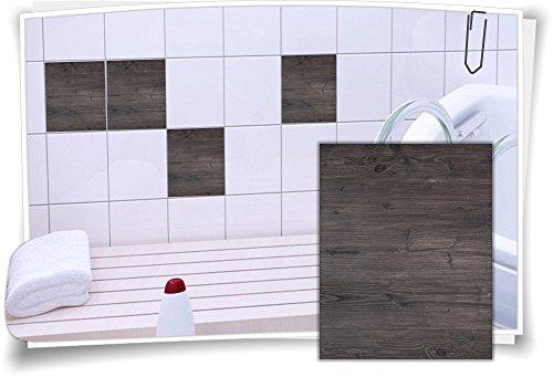 Medianlux Fliesenaufkleber Fliesen Aufkleber Holz Baum Kiefer Fichte Bad WC Küche Kachel Imitat Deko Holzimitat, 4 Stück, 20x25cm