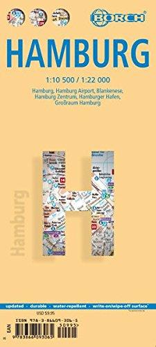 Hamburgo, plano callejero plastificado. Escala 1:10.500 / 1:22.000. Borch.: BB.C458 (Borch Map)