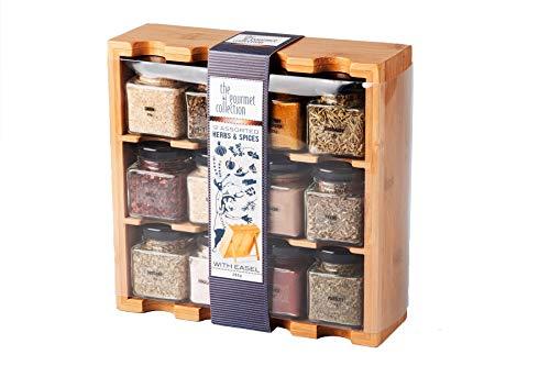 Especiero con frascos de cristal - Madera - Selección de 12 especias