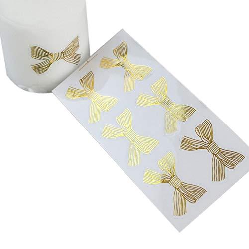 PMSMT 60 unids/Lote Lindo Lazo Dorado Grande Dorado 4,5 * 3 CM Adhesivo Hecho a Mano Pastel Dulce Embalaje de Caramelo Etiqueta Adhesiva de Sellado Regalo papelería