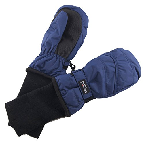 SnowStoppers Kid's Waterproof Stay On Winter Nylon Mittens Large / 4-8 Years Navy blue