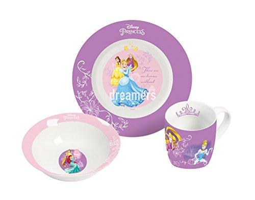 Disney Lot de 3 Pièces Petit-déjeuner, Porcelaine, Multicolore, 19 x 9 x 19 cm Princess 12963.