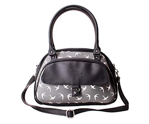 SugarShock Damen Shopper Sinaida Tattoo Schwalben Handtasche, Farbe:schwarz grau