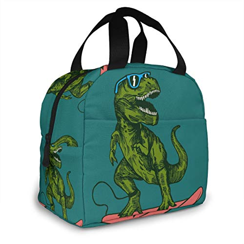 PrelerDIY Hipster Surfing Dinosaur Lunch Box Insulated Meal Bag Lunch Bag Reusable Snack Bag Food Container For Boys Girls Men Women School Work Travel Picnic