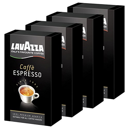 Lavazza Kaffee Espresso 100% Arabica, gemahlener Bohnenkaffee, (4 x 250g Packung)