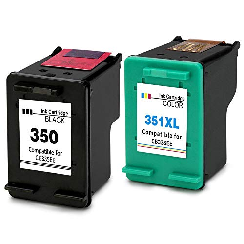 Ink_seller 350/351XL Compatible pour Cartouches HP 350 351XL, 1 Noire/1 Tri-couleur Pack de 2 Travailler avec HP Officejet J6424 J5780 J5785 HP Photosmart C4280 C4480 C4580 HP Deskjet D4260 D4360