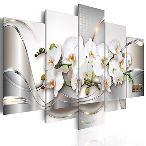 decomonkey Bilder Blumen Orchidee 200x100 cm 5 Teilig Leinwandbilder Bild auf Leinwand Wandbild Kunstdruck Wanddeko Wand Wohnzimmer Wanddekoration Deko Abstrakt Modern weiß beige