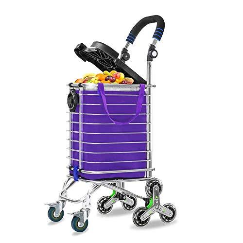 GQQ Utility Cart Folding Shopping Cart, 360 ° Drehbares Rad Tragbares Treppensteigauto, Wasserdichte Einkaufstasche, 120 ° Drehbarer Griffwagen, Lager 77 Lbs
