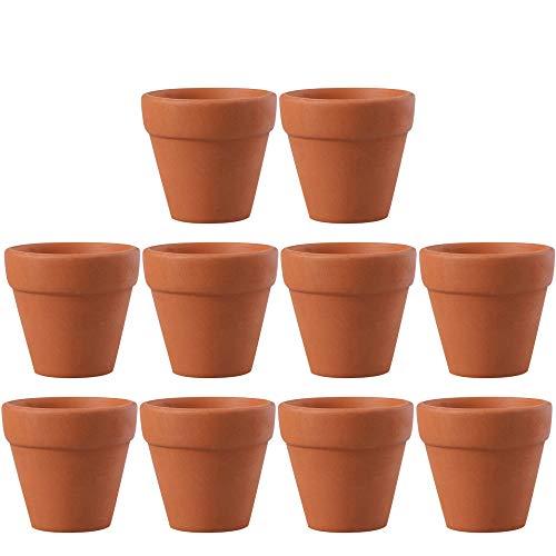 MOPOIN Lot de 10pcs Mini Pots de Fleurs en Terre Cuite avec Trous - pour intérieur et extérieur - 4,5 x 4 cm