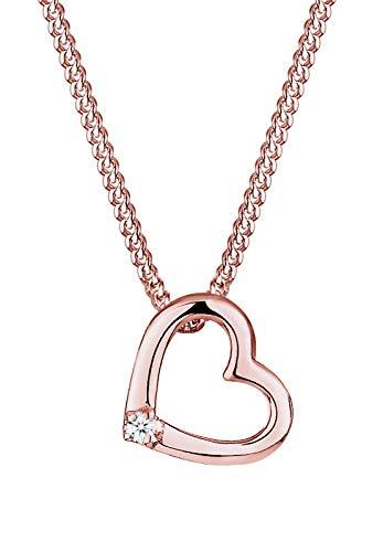 DIAMORE Halskette Damen Halskette mit zartem Herz Anhänger Liebe mit Diamant (0.02 ct.) in 925 Sterling Silber 45 cm lang