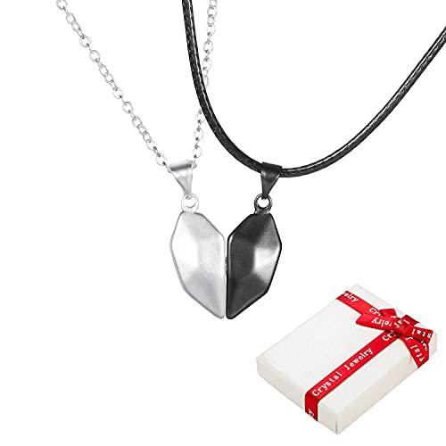2 piezas BFF cadena de socios colgantes de piedras preciosas puntiagudas para parejas, cadenas de amor y amistad cadena de hasl del mejor amigo, joyería para mujeres niñas amigos amantes regalos