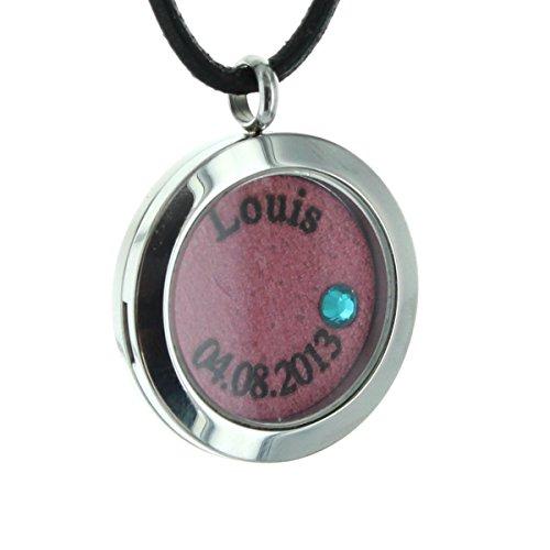 Area17 Mutterschmuck Medaillon - Edelstahl Medallion mit Geburtsstein und Kette - Pink - inkl. Wunsch Gravur -