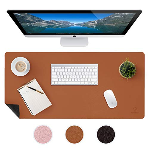 Large Leather Desk Mats for Keyboard and Mouse Pad, Anti-Skid Backing with Heat Resistant and Waterproof Surface, Responsive Desktop for Gaming, Writing, or Home Office Work (Brown, 17X36)