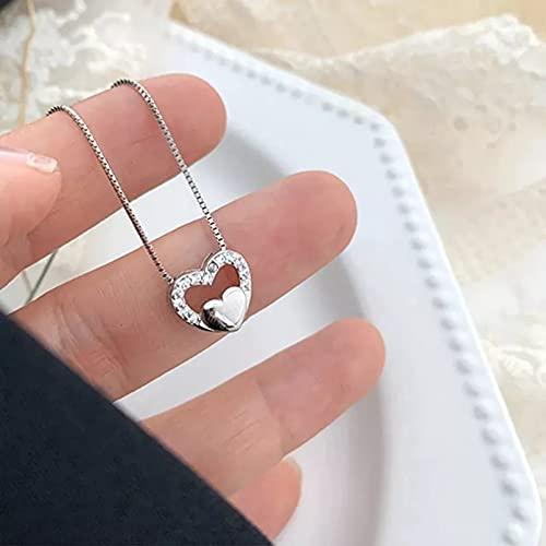 N/A Colgante de Collar de Mujer Collar con Dije de corazón de circonita para Mujer,Colgante de Cadena con Caja, joyería Elegante para Fiesta
