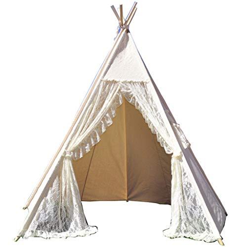 Tents Tienda de campaña para niños de color blanco con diseño de Teepee, plegable, para jugar y jugar a juegos, para niños (tela + lienzo) (color: blanco, tamaño: 120 x 120 x 160 cm)