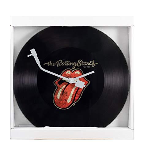 P:os 76876069 - Rolling Stones Wanduhr im Schallplatten Design, Ziffernblatt in Vinyl - Optik, Zeiger wie der Tonarm eines Plattenspielers, Durchmesser ca. 30 cm, batteriebetrieben