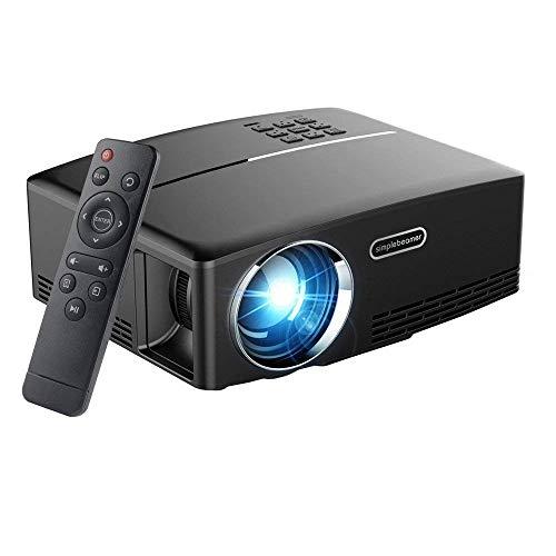 Video Proiettore, Oley GP80 1800 Lumen LCD Mini Proiettore, Multimedia Home Theater Video Proiettore Supporto 1080P HDMI USB SD Card VGA AV per Home Cinema Teatro Video Giochi Notte Film (Nero)