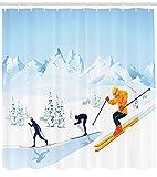 Cortina de Ducha Deportiva,Personas en Ropa de Invierno esquiando por una Pendiente en un Entorno nevado Actividad de Temporada,Multicolor con 12 Ganchos de plástico de 180x180cm