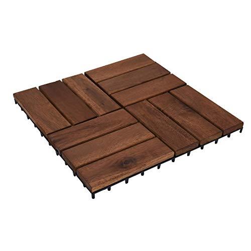idooka Garden Interlocking Floor Tiles - Astro Turf Artificial Grass/Wood Planks Tile - Instant Wooden Decking Boards for Patio/Garden Wooden Gazebo/Garden Shed Outdoor Mat Raised Flooring