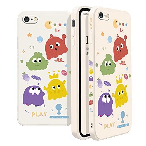 BINGRAN Custodia iPhone 6 Plus/6S Plus Cover Protettiva Antiurto per Paraurti in Silicone Liquido TPU Ultra Sottile Simpatico Cartone Animato Custodia per iPhone 6 Plus/6S Plus 5.5' -Pac Man